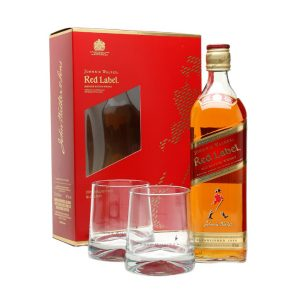 johnnie walker red label + 2 glasses