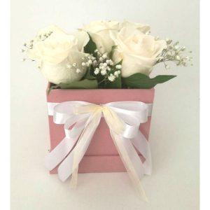 Рози во плишена коцкаста розева кутија